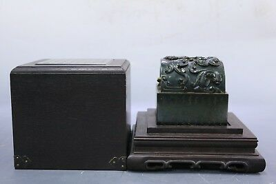 Chinese Beautiful Carved Jade Dragons Seal with Box