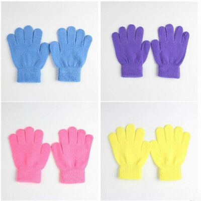 2018  New Winter Warm Kids Solid Full Finger Glove Baby Gloves Knitted Stretch