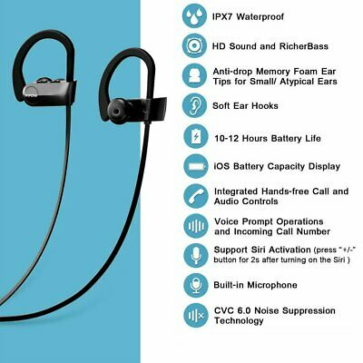 Mpow IPX7 Bluetooth Headphones Stereo High Bass Wireless Sports Earbuds 12 Hours