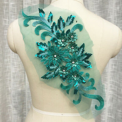 3D Sequin Flower Applique Lace Beaded Floral Patches Skirt Motif Clothing Crafts