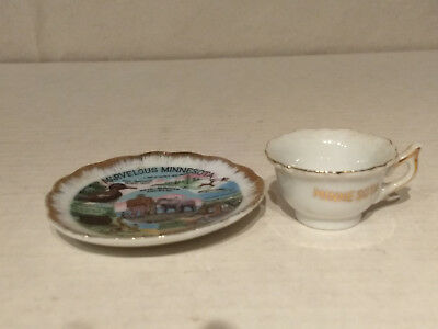 MARVELOUS MINNESOTA Souvenir Porcelain MINIATURE Vacation Paradise CUP SAUCER