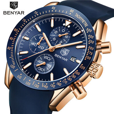 BENYAR 5140 Luxury Watches Chronograph Date Quartz Sport Men Rubber Wrist Watch