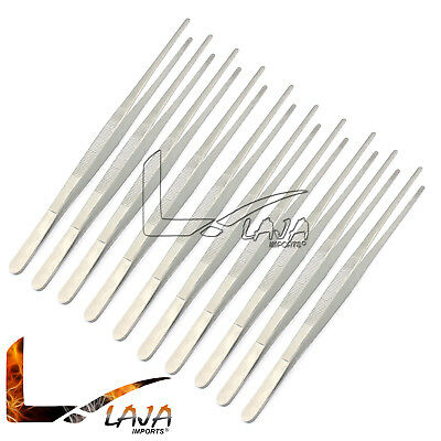 """10pcs Handy 12"""" Inch Extra-Long Tweezers Instruments Forceps Stainless Steel New"""