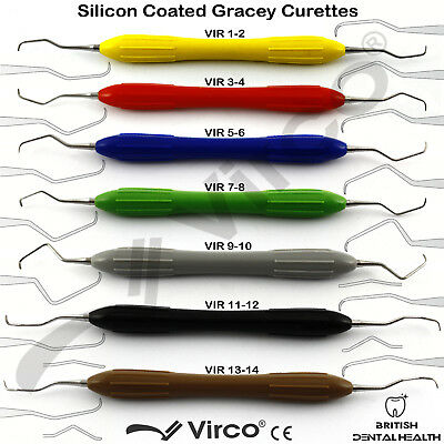 Set Of 7 Silicone Coated Gracey Curettes Dental Instrument Periodontal Scaler Ce