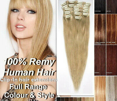 15''-22'' 7PCS Clip in Remy Human Hair Extensions Full Head Thick Double USA