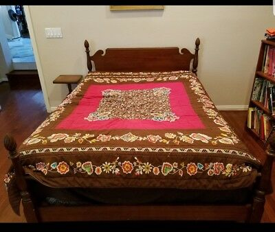 Vintage Bed Frame Pineapple Accent Solid Wood