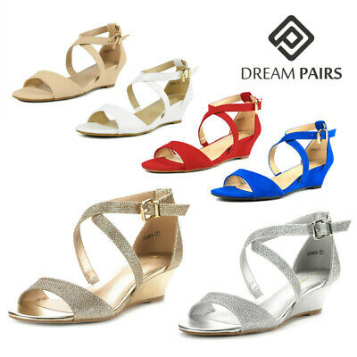 DREAM PAIRS Womens Ankle Strap Ladies Low Wedge Heel Summer Party Work Sandals
