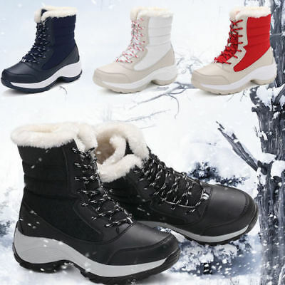 Womens Winter Waterproof Flat Casual Fur Warm Shoes Snow Ankle Boots