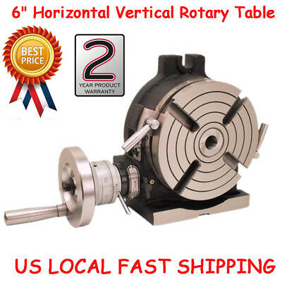 """6"""" HV6 Horizontal & Vertical Rotary Table High Precision MT2 90:1 28 lbs.US FAST"""