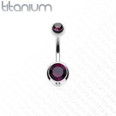 Implant Grade Titanium Blue Double Jeweled Belly Button Ring Fsh