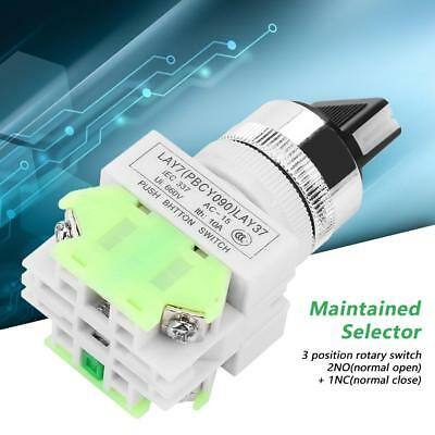 22mm 3 Position Maintained Selector Self-Locking Rotary Switch LAY37-20X/31 GL