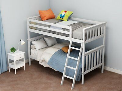 New Single 3ft Twin Bunk Bed Wood Sleeper with 3ft Single Sprung Mattress Kids