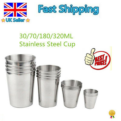 Small Stainless Steel Cup Mug Drinking Coffee Tea Tumbler Camping Travel UK U8A
