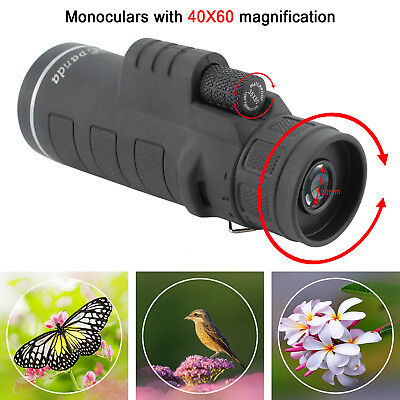 Portable 40X60 Focus HD Optics Lens Hiking Zoom Monocular Telescope Hot