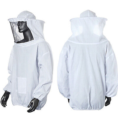 Beekeeping Jacket With Veil Hood Beekeeper Protective Clothes One Size ~ White