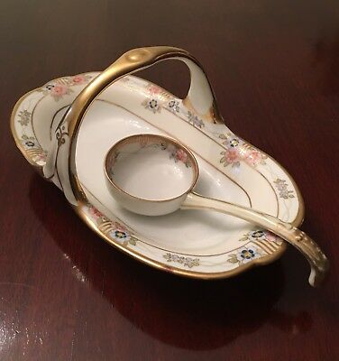 Vintage Hand painted Nippon Porcelain Condiment Dish With Matching Spoon