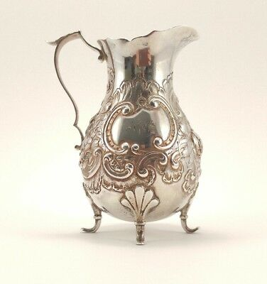 Vintage Gorham English Mark Footed Creamer Pitcher Ornate Floral Flower Repousse