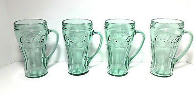 Lot of 4 Green COKE Coca-Cola Glasses with Handles ~ Heavy Glass