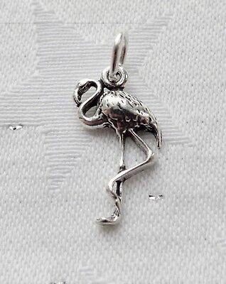 """Flamingo Bird 3D 925 Solid Sterling Silver Charm Pendant 21mm 13//16/"""" MADE IN USA"""