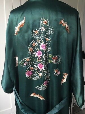 ANTIQUE CHINESE SILK HAND EMBROIDERED ROBE KIMONO DRESSING GOWN TEXTILE Bats