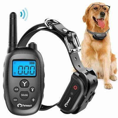 Peteast Rechargeable and Waterproof Electronic Dog Trainer Shock Collar, 1000ft