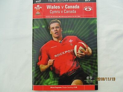 Wales v Canada Saturday 16/11/2002  Match Day Programme.+ Event Tickets