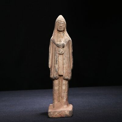 Chinese North Wei Dynasty Pottery Figure Standing Old Statue Clay Sculpture SA91