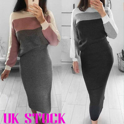 Womens Color Patchwork Knitted Jumper Pullover Bodycon Skirt Winter Casual Suit