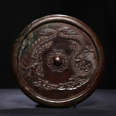 Large Chinese Tang Dynasty Antique Round Dragon and Phoenix Bronze Mirror SA78