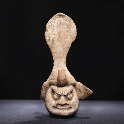 Chinese Tang Dynasty Pottery Head of Figure LuoHan Statue Mud Sculpture SA228