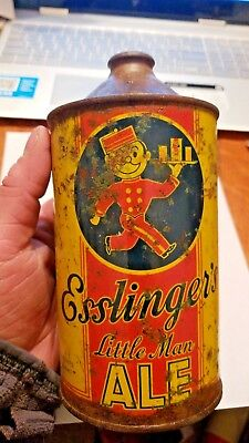 Vintage 1938 Cone Top Beer Can Esslinger's Little Man Ale One Quart