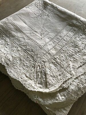 """Beautiful Antique Victorian Linen Hand Embroidered Cut Out Table Cloth - 60"""""""
