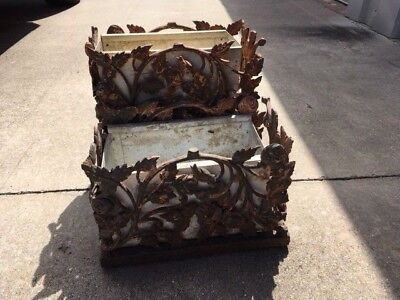 Antique Cast Iron Planter Rose Bud Pattern With Liner Shabby Chic Set of Two