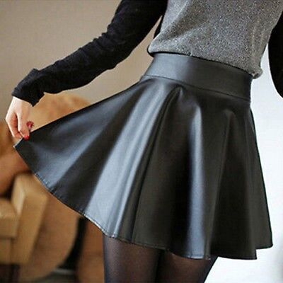 Women Slim High Waist Short Mini Skirt Pleated Black Solid Casual Faux Leather