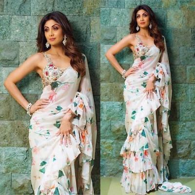 Best Selling Indian Designer Shilpa Shetty Frilled Ruffle Saree Sari Party Wear