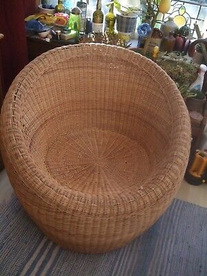 Vintage 1960s / 1970s  Cane Egg Chair  -  Isamu Kenmochi Style