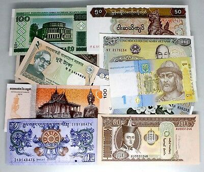 10 Countries Banknotes 100% Real Paper Money Brand New Collections Uncirculated