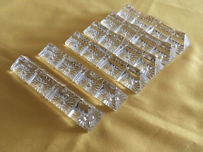 6 Art Deco French Crystal Glass Knife Rests.
