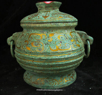 Certified Chinese  Ancient Bronze Ware double ear wine pot jar teapot box Statue