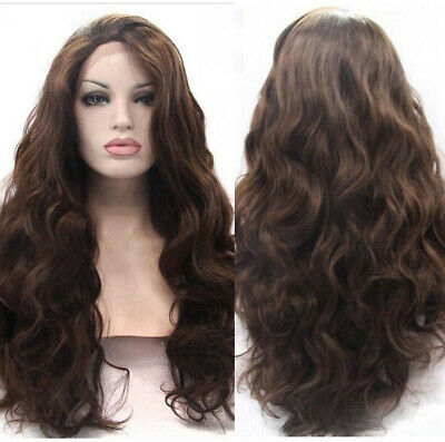 "AU 24"" Women Long Wavy Party Synthetic Fiber Hair Medium Brown Lace Front Wig"