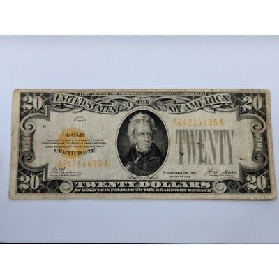 1928 $20 Dollar Gold Certificate NO RESERVE