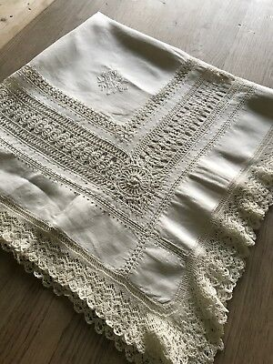 """Antique Victorian Linen Thread Work And Embroidered Monogramed Table Cloth - 40"""""""