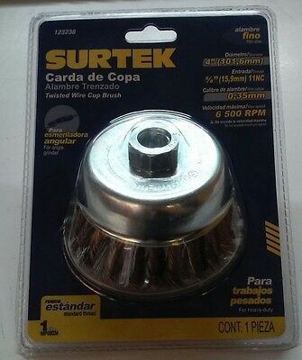 "Surtek 123238 Twisted Wire Cup Brush Thin Wire 4"" X .35 Mm X 5/8"" 11 Nc"