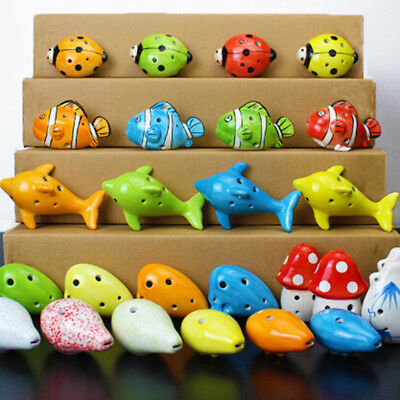 1PC 6 Hole a c Key ceramic handmade Mini ocarina flute toy PDH
