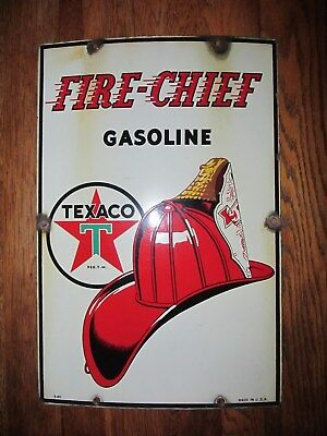 Antique 1940 Texaco Fire Chief Gasoline Pump Plate Porcelain Sign Gas Oil 12x18