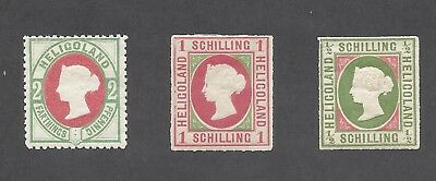 HELIGOLAND 1867-1875 3 Stamps Scott 1 3 and 15 CV $561