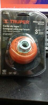 "Truper Co-508M Crimped Wire Cup Brush 3"" Metric M14"