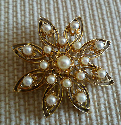 This is an estate piece, a Vintage Solid 14K Yellow Gold Pearl Brooch / Pendant
