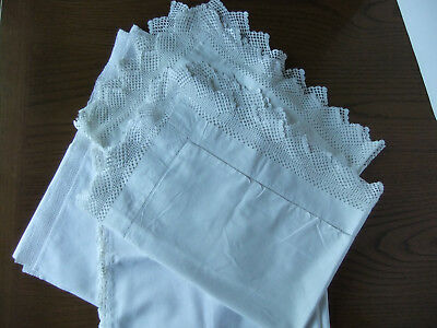 Mixed lot - 2 large vintage pillowcases with lace trim & 2 bolster covers