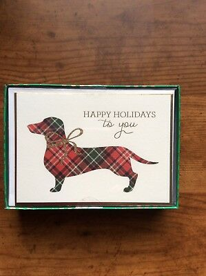 Dachshund Doxie Dog Boxed Set of 15 Christmas Holiday Cards & Envelopes